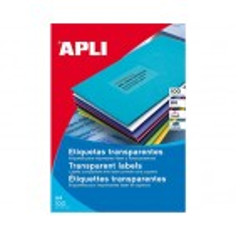 APLI vremensko odporne nalepke, prozorne, 70x37mm, 24/stran, 20 listov
