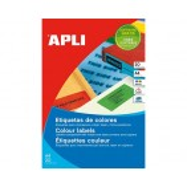APLI barvne nalepke, fluoroscentno rdeče 210x297mm, 1/stran, 20 listov