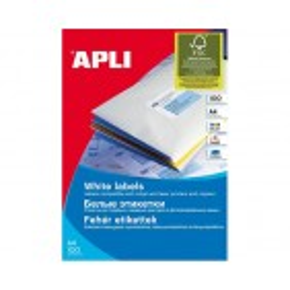 APLI bele nalepke 38x21,2mm, 65/stran, 100 listov
