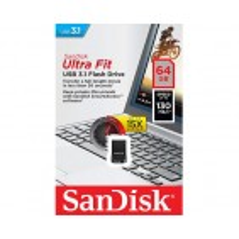 USB ključek Sandisk Ultra Fit, 64GB, USB 3.1, 130/NP, strojna enkripcija (črn)