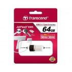 USB ključek Transcend JetFlash 890S, 64GB, USB 3.1, 90/30, Type-C port (srebrn)