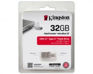 USB ključek Kingston DataTraveler microDuo 3C, 32GB, USB 3.1, 100/15, Type-C port (srebrn)