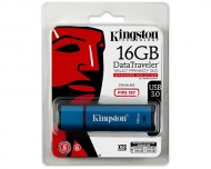 USB ključek Kingston DataTraveler Vault Privacy 3.0, 16GB, USB 3.0, 165/22, strojna zaščita (moder)